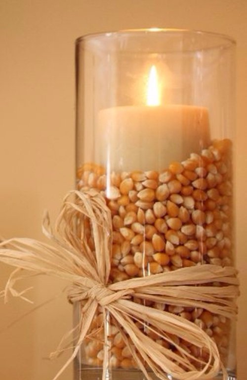 Popcorn in a Candle Holder