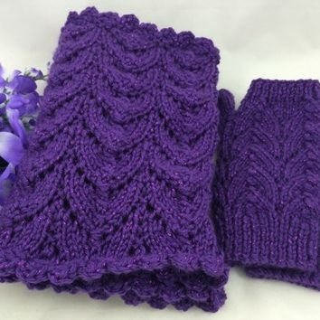 Infinity Scarf Fingerless Glove Set Purple