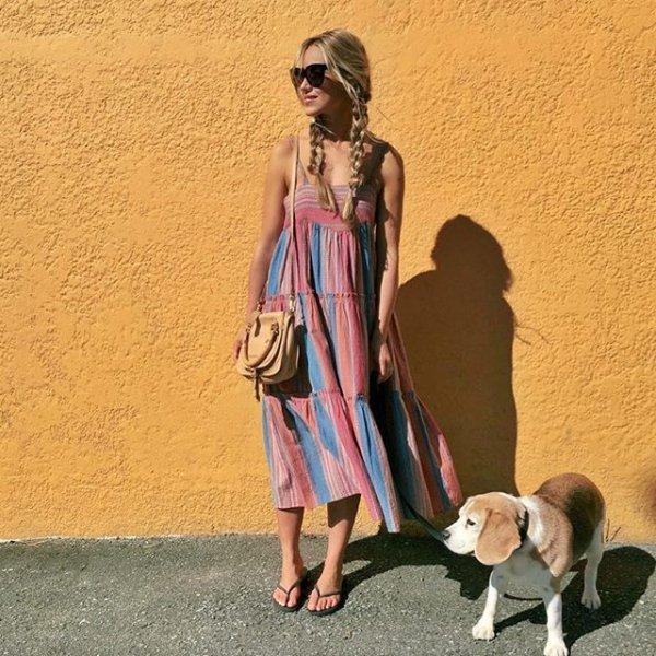 clothing, vacation, dress, dog walking,