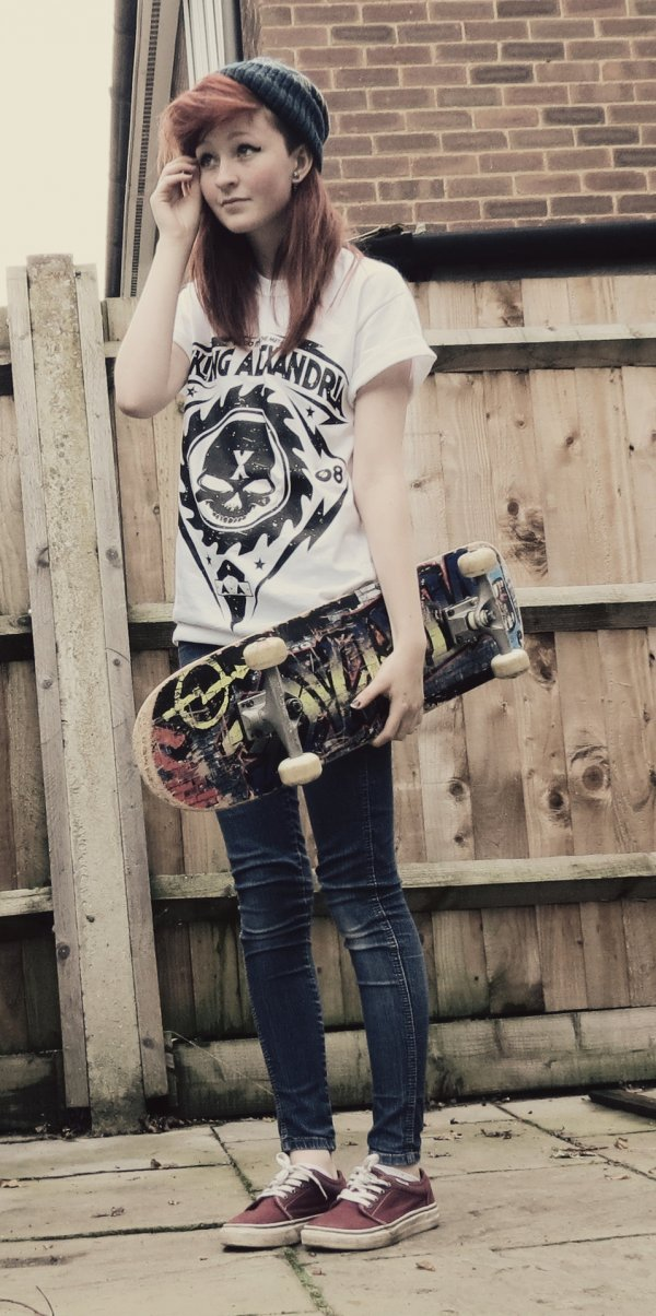 Skater Girl Uniform Graphic Tee And Skinny Jeans Get On Board