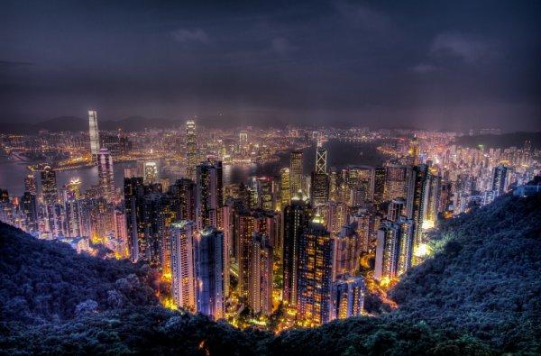 Victoria Harbour, metropolitan area, night, skyline, cityscape,