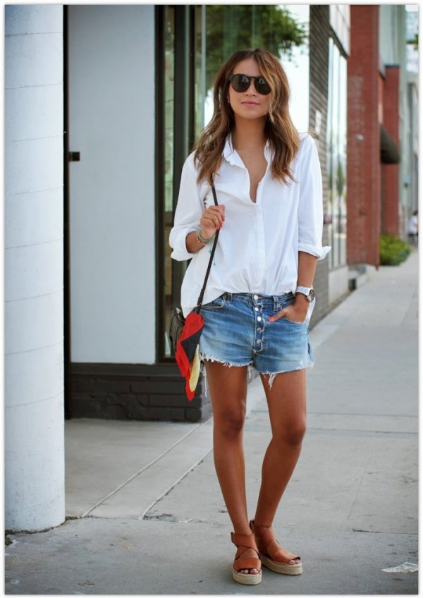 Keep It Casual with an Oversized White Shirt and Denim Cut-offs