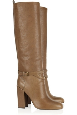 Yves Saint Laurent New Chyc Leather Knee High Boots