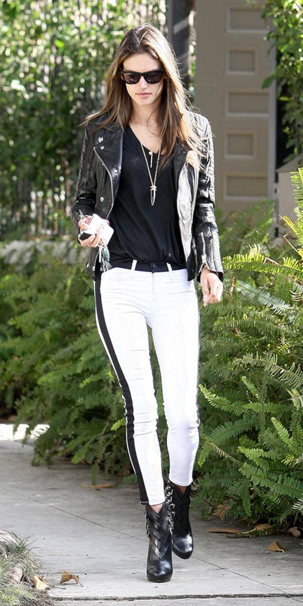 Alessandra Ambrosio - 9 Celebrities Wearing Tuxedo Stripe Pants –…