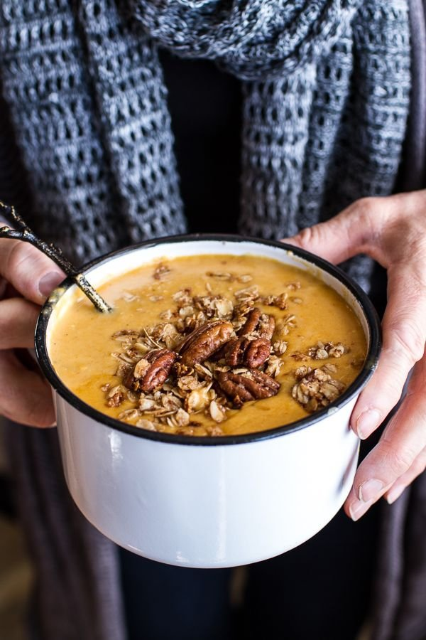 Brie Cheddar Apple Beer Soup with Cinnamon Pecan Oat Crumble