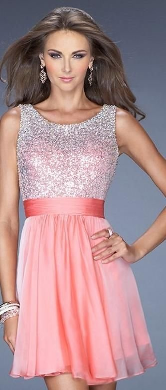 Sparkly Salmon - 30 Stunning Homecoming Dresses ... → 👭 Teen