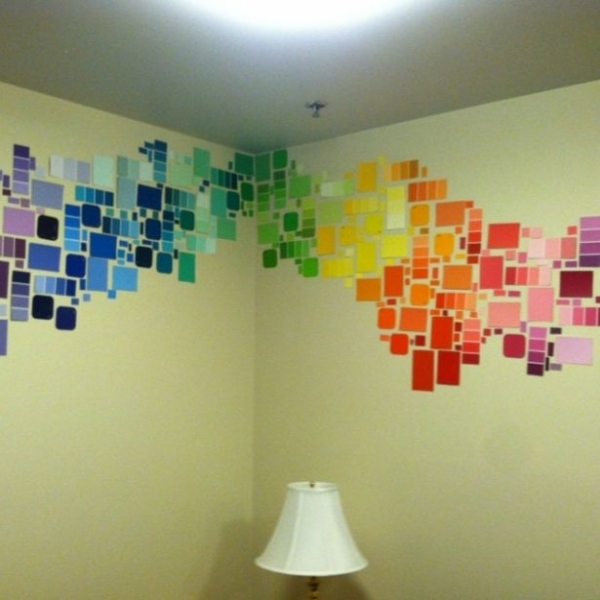 Diy Room Decor Wall Decor : Diy paint chip wall art dorm room decor