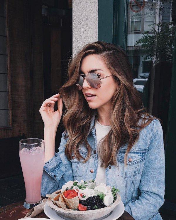clothing, glasses, brown hair, hairstyle, long hair,