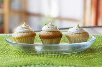 White Cupcake Minis with Lime Cream Frosting