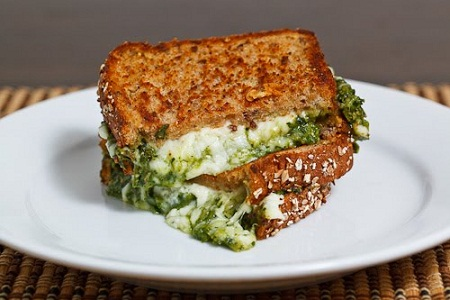 Spinach Pesto Grilled Cheese Recipe...