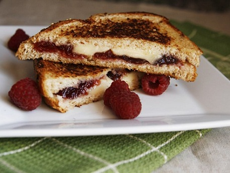 Raspberry, Brie, and Blue Grilled Cheese Recipe...