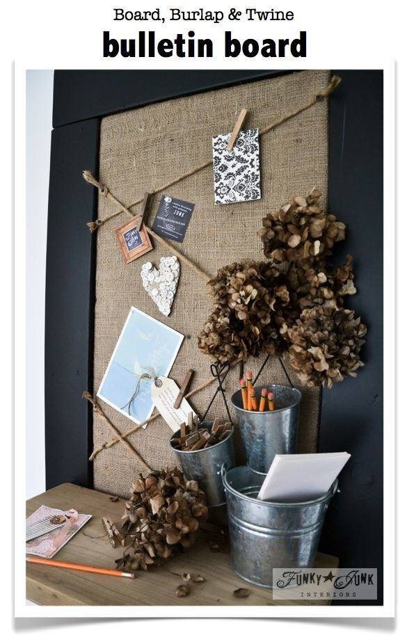 A Board Burlap And Twine Bulletin Board 20 Super Cool