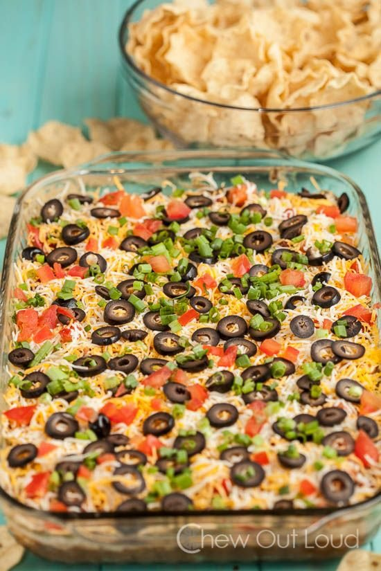 7 Layer Mexican Dip with Tortilla Chips