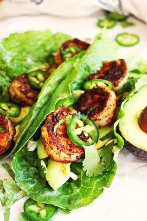 Spicy Shrimp and Avocado Lettuce Wraps