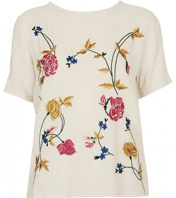 Topshop Flower Embroidery Tee