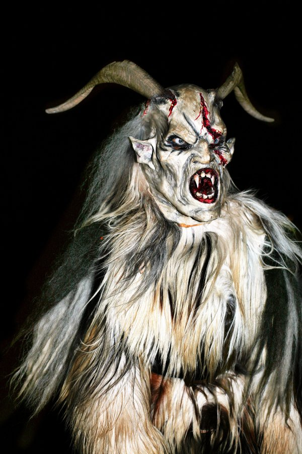 Austrian and Bavarian Children Look out for Horned Krampus