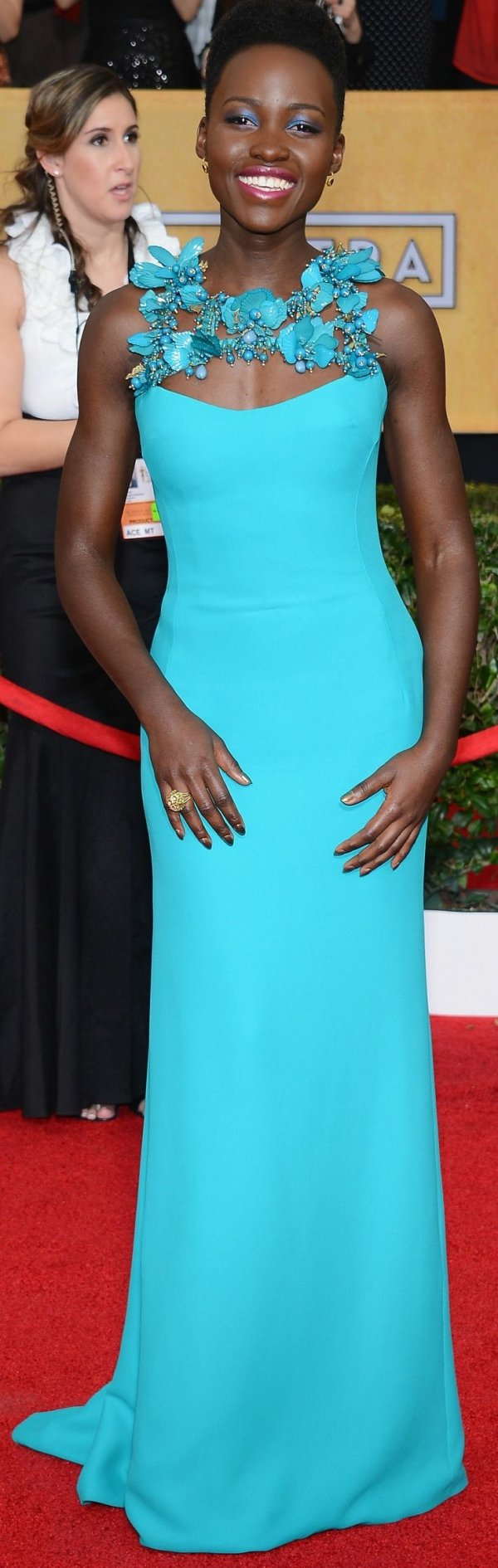 A Bright Teal Gucci Gown at the SAG Awards