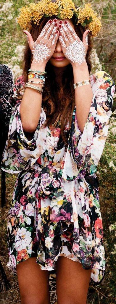 Kimono, Floral Crown, & Tattoos