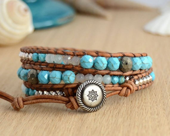 Silver and Turquoise Sectioned Wrap Bracelet