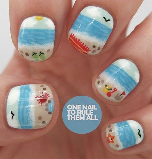 A day at the beach 40 awesome beach themed nail art ideas to a day at the beach nail prinsesfo Choice Image