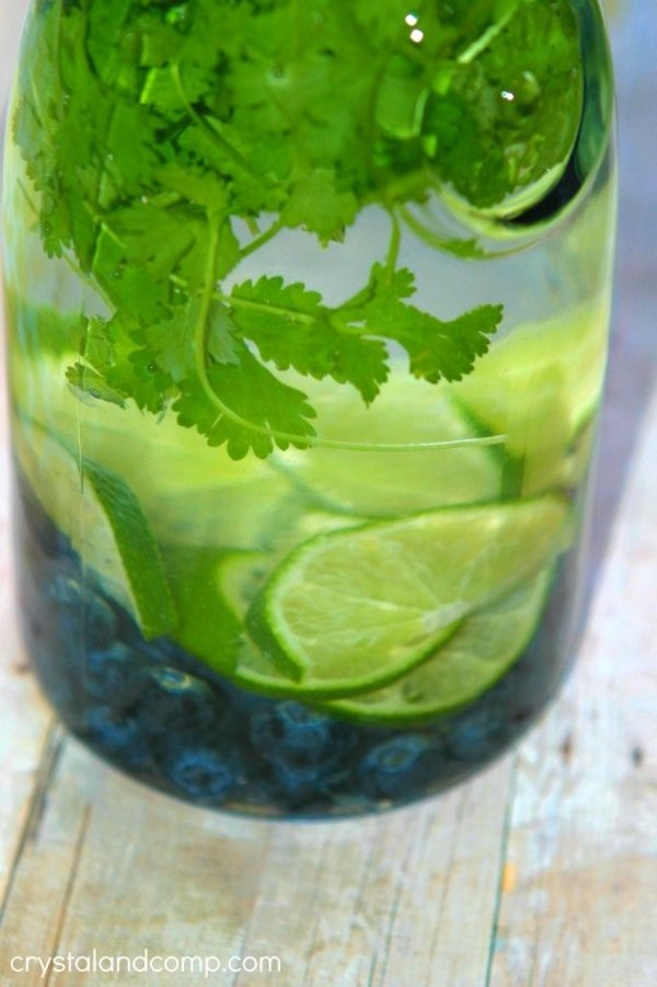 Blueberry Lime and Cilantro Water