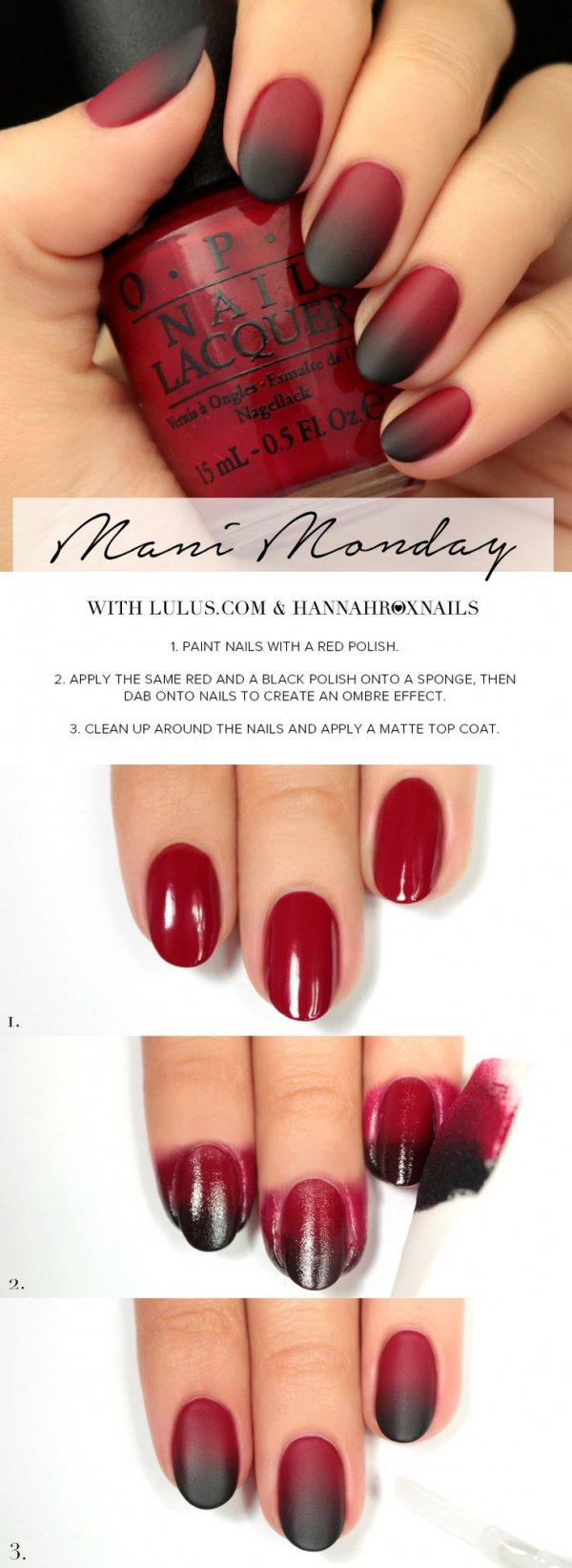 Red-to-Black Matte Ombre