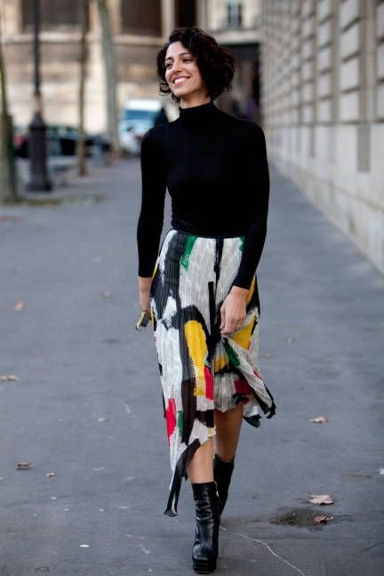 Black Turtleneck Top with a Flirty Skirt