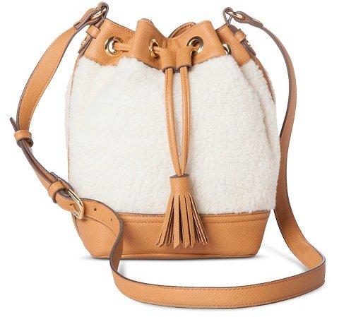Adam Lippes Shearling Drawstring Bucket Bag