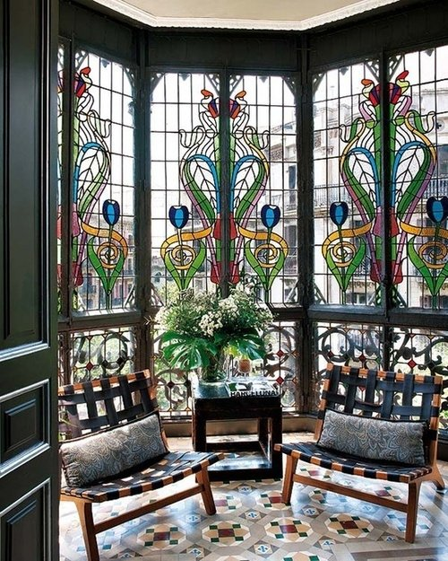 art nouveau stained glass windows 43 examples of gorgeous. Black Bedroom Furniture Sets. Home Design Ideas