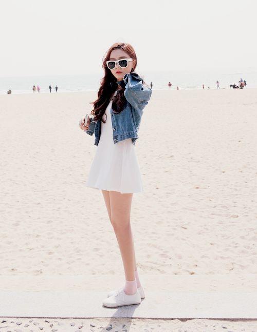 White Dress with a Denim Jacket