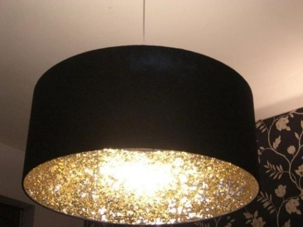 22 diy lampshades you can make at home diy coat the inside of a lampshade with glitter aloadofball Image collections