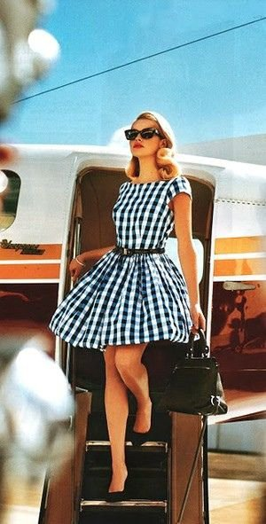Blue Plaid Airplane Style - 25 Adorable Dresses for a Fun Retrou2026