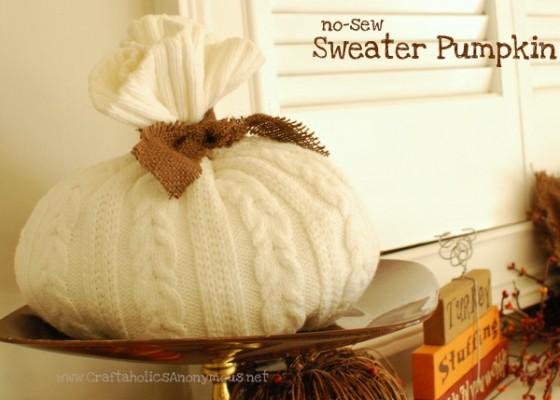 No-Sew Sweater Pumpkin