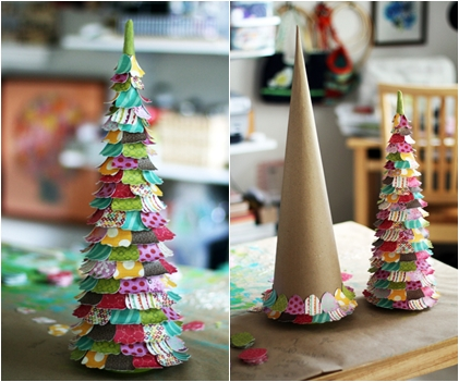 Paper Petals - 17 Marvelous DIY Mini Christmas Trees … …