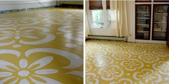 When you search for painted floor DIYs online, this yellow goodness is one  of the first tutorials that you will encounter.