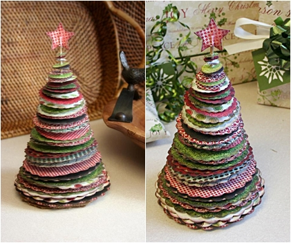 Scalloped Paper - 17 Marvelous DIY Mini Christmas Trees … …