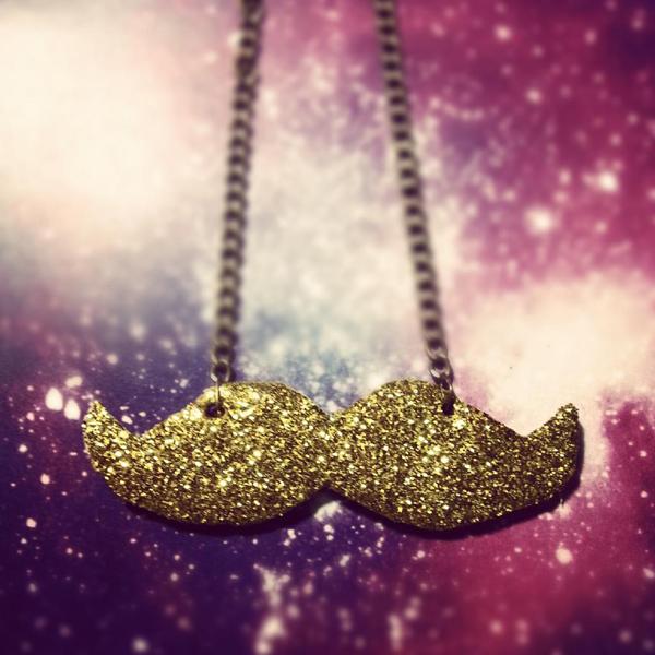 Cardboard Glitter Mustache Necklace
