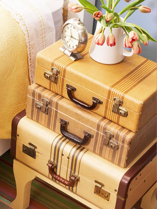 Stacked Suitcase Side Table