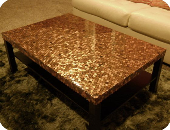 Table 10 amazingly cool penny crafts diy for Coffee table cover ideas