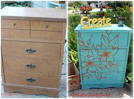 Designer Dresser Makeover with the floral design