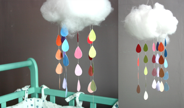 7 cute diy rain cloud mobiles diy. Black Bedroom Furniture Sets. Home Design Ideas