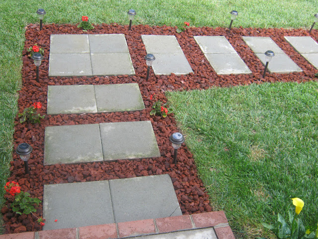 Red lava rock framed 8 wonderful diy walkways and garden for Small red rocks for landscaping