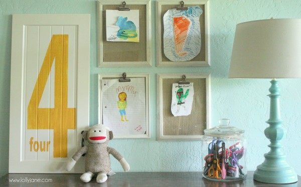 Clipped frames 9 diy ways to display kid 39 s art diy - Simple ways of keeping your home organized using magnetic picture frames ...