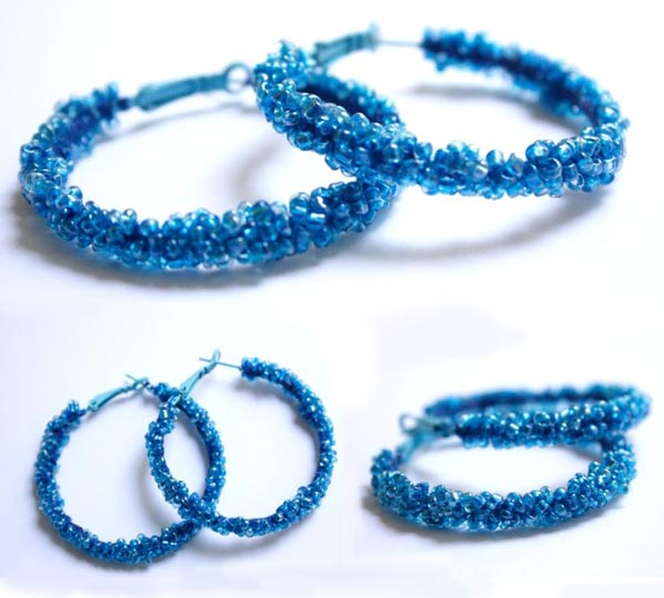 Blue Beaded Hoops