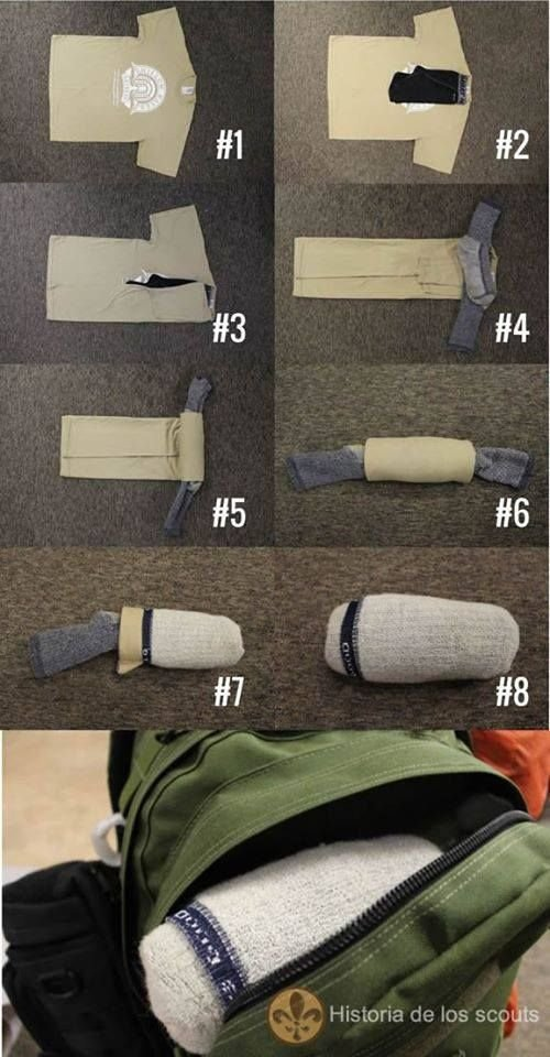 Turn A T Shirt Underwear And Socks In One Little Roll Camping