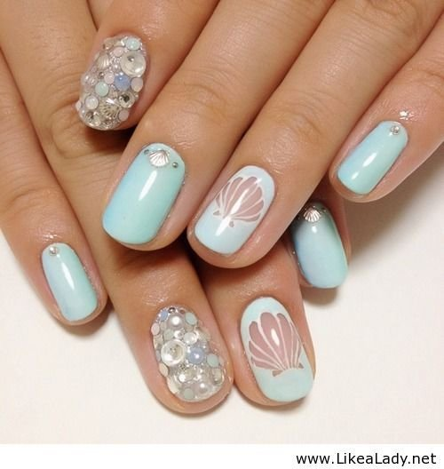 Blue mermaid 40 awesome beach themed nail art ideas to make nailfingernail caremanicurehand prinsesfo Image collections