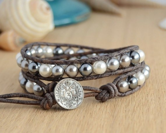Grey and White Pearl Bracelet