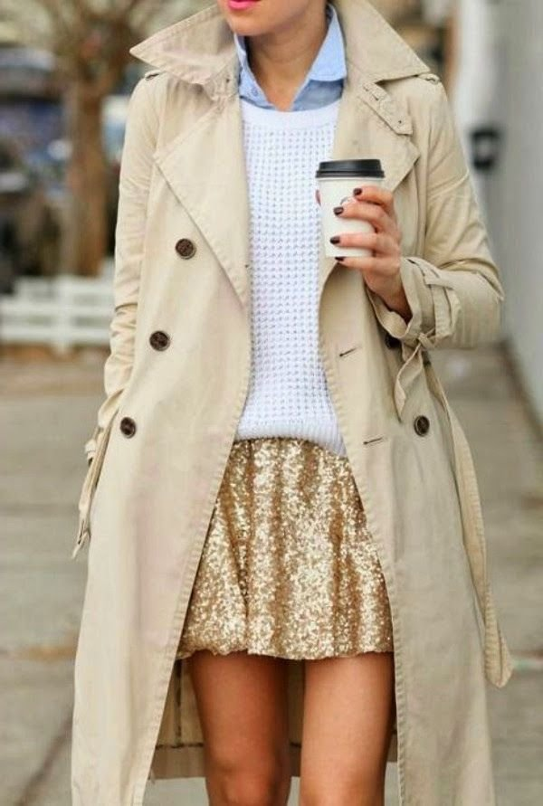 Trench Coat with a Sequin Skirt