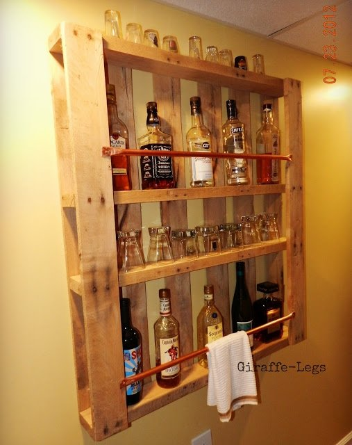 Pallet wall bar 9 marvelously clever diy mini bars for How to build a mini bar cabinet