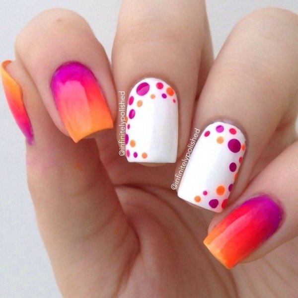 Add a neon ombre to a couple nails and some polka dots to others for an  easy way to rock the neon trend. - 24 Fancy Nail Art Designs That You'll Love Looking At All Day Long